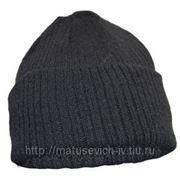 Шапка зимняя (полушерстяная) черная, синяя фото