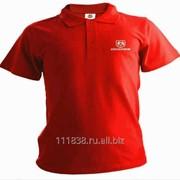 Рубашка поло Dodge красная вышивка белая фото