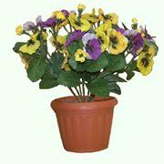 Искусственный цветок в горшке Анютины Глазки фото