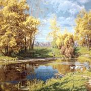 Картина Сельский пруд осенью фото