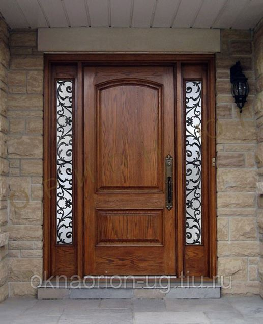 دکوراسیون با پنجره قدیمی Custom wood door with worught iron sidelites Wood Door Gallery Wood Doors Toronto