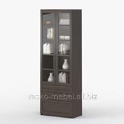 Шкаф 2-дверный с ящиками Соло 054 Корпус венге, фасад венге/стекло фото