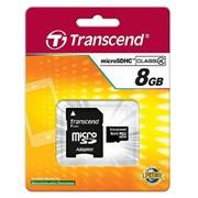8Gb Transcend карта памяти microSDHC, Class 4, Адаптер SD, TS8GUSDHC4 фото