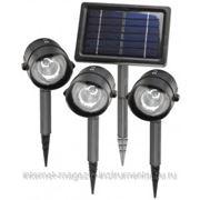 Светильник СВЕТОЗАР с пластмассовым корпусом, 2 светодиода, белый свет, 3 Ni-Mh аккумулятора по 1300мАч, 150x350мм, 3шт+1 общая солнечная панель