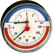"Термоманометр подключение осевое ½"" НР с отсекателем фото"