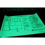 Ламинирование планов эвакуации фотолюминесцентной пленкой фото