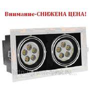 Светодиодный карданный светильник DLS-002/2 254х140х135 565Лм 12.4W Алюминиевый сплав Черный и серебро фото