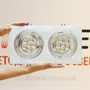 Двойной светильник LED-GS02A. Яркий светодиодный светильник встраиваемый, 2 источника света х16-20Вт.