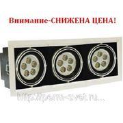 Светодиодный карданный светильник DLS-002/3 350х140х135 878Лм 19.2W Алюминиевый сплав Черный и серебро фото