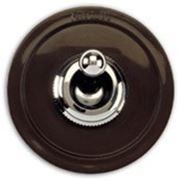 Выключатель одноклавишный перекрестный, хром/коричневый фото
