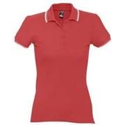 Рубашка поло женская Practice women 270 красная с белым, размер L фото
