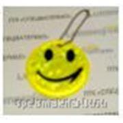 """Брелок """"SMILE"""" светоотражающий """"мягкий пластик"""" (PVC), всепогодный, цвет: флуоресцентный лемонно-жёлтый, D=6 сm (+крепление) фото"""