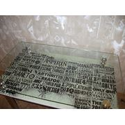 Стеклянный обеденный стол «Газета»№33
