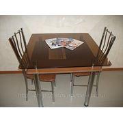 Стеклянный обеденный стол «бронзовый квадрат»№30