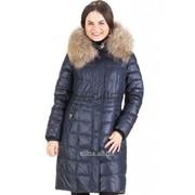 Пальто с мехом Mishele 9917 синий фото