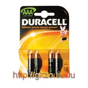 Батарейка DURACELL AAA LR3, 4шт на блистере фото