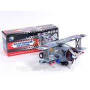 """Самолет 2067 """"воздушный патруль"""" со звуком и светом на батарейках в коробке 27*9,5*10,5см (835228) фото"""