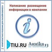 Написание и размещение информации о компании для сайта на tiu.ru