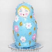 Свеча Матрешка голубая фото