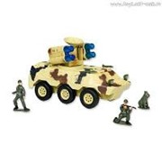 "Р/У игрушка ""Бронетранспортер с радаром и ракетной установкой"" MioshiArmy (30 см, с фигурками 2 солдата и 1 собака, поворот башни, подсветка, звук) фото"