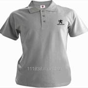 Рубашка поло Peugeot серая вышивка черная фото