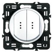 Выключатель (переключатель) двухклавишный с индикацией Legrand Celiane 10А с клавишей (белый) фото