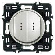 Выключатель (переключатель) 2кл с подсветкой Legrand Celiane с клавишей (титан) фото