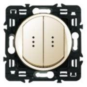 Выключатель двухклавишный с индикацией Legrand Celiane 10А с клавишей (слоновая кость) фото