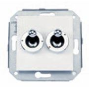 Двухклавишный выключатель белый/хром фото