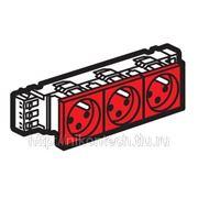 Розетка 6 модулей 3х2Р+Е блокировка красная 45 градусов Mozaic/Legrand 077282 фото