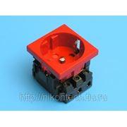 Розетка 2 модуля 2Р+Е блокировка красная Mozaic/Legrand 077214 фото