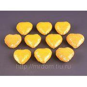 Комплект декоративных украшений из 10 шт.сердечко среднее желтое (604981) фото
