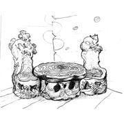 Проект столовой группы из корнепластики и элементами резьбы по дереву. фото