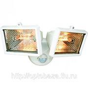 Прожектор галогеновый двойной по 150W уличный с датчиком движения 110 град, белый фото