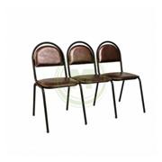 Секция стульев Стандарт, кожзам белый, каркас черный фото