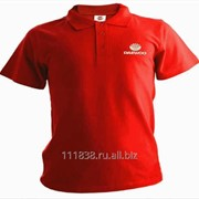 Рубашка поло Daewoo красная вышивка белая фото