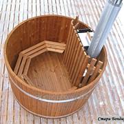 Купель дубовая с печкой фото