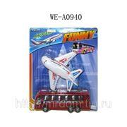 Самолет инерционный в наборе с автобусом, на блистере, 28,5х24,5х6,5см (821736) фото