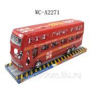 Автобус инерционный двухярусный, на подставке, 30,5х9,2х13см (821477) фото