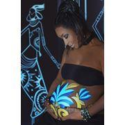"Боди-арт + фотосессия ""Голубой лотос"" накануне рождения ребёнка фото"