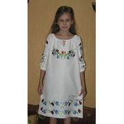 Сорочка - вышиванка детская: льняное платье с традиционной украинской вышивкой - модель 02 дв фото