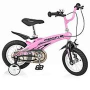 Велосипед детский PROF1 12д. LMG12122 Projective,магниевая рама,розовый, доп.колеса фото