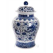 """Чайная ваза с ручной росписью """"пионы и драконы"""", керамика, 40х40х70 (675467) фото"""