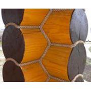 Декорирование межвенцовых соединений джутовым канатом фото