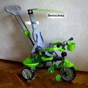 Велосипед детский TRIKE с ручкой управляшкой свет + звук фото