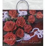 Пакет с пластмассовыми ручками (38х35+10) Розы и жемчуг 30/5 фото