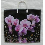 Пакет с пластмассовыми ручками (38х35+10) Нежная орхидея 30/5 фото