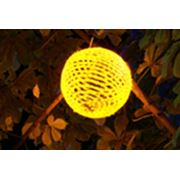Оформление деревьев светящимися цветными шарами фото