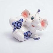 Статуэтка керамическая Слоник с сердечком 8*7 см фото