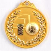 Медаль рельефная баскетбол - золото фото